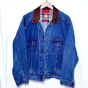 Marlboro Denim and Leather Jacket Womens Sz M